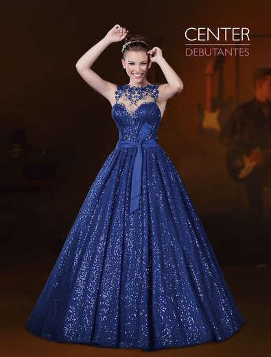 Vestido de Debutante Azul escuro
