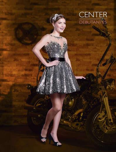 Vestido de Debutante Preto com prata