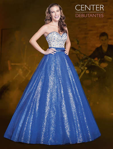 Vestido de debutante Azul e prata